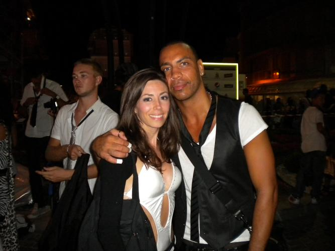 nuelle with the international choreographer and dancer Etienne Jean Marie al backstage di Company Contatto show by italian Company radio at Sottomarina, Venezia, Italiy